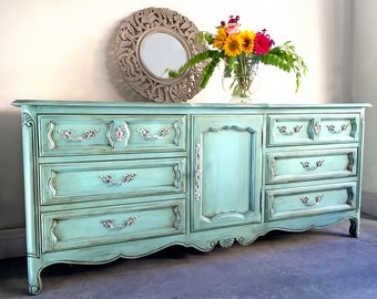 SOLD - Painted Dresser, French Provincial Dresser, Vintage Dresser, Credenza, Console, Buffet, Shabby Chic Dresser, Painted Furniture