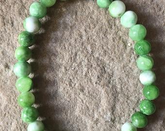 Green agate semi precious 6mm gemstone bracelet