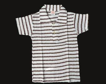 Vintage NOS 70's Cream/Brown Striped Pointelle Mod Polo Shirt British Stock 12-18 Months