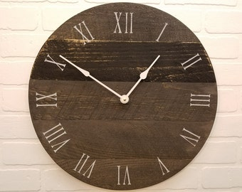 Wall clock, Solid wood, Made from rough cut lumber and finished to look like reclaimed or barn wood.