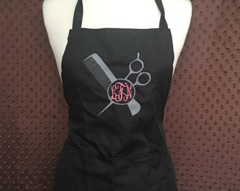 EMBROIDERED Monogrammed Beautician Apron with 2 front pockets