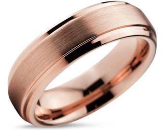 Tungsten Ring Rose Gold Wedding Band Ring Tungsten Carbide 10mm 8mm 6mm 4mm 18K Tungsten Ring Man Wedding Band Male Women Anniversary