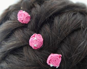 pink rose hair pins, pink flower girl hair pins, pink rose bobby pin, floral bobby pins, flower barrette, flower hairpins, flower bobby pins