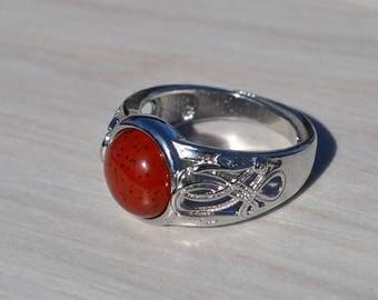 Red jasper ring, Red jasper silver tone ring, Jasper ring, Red jasper cabochon ring, Silver tone red jasper ring, Ring red jasper silver.