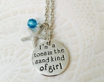 I'm a toes in the sand kind of girl charm necklace