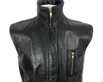 Vintage Black Leather Sleeveless Jacket or Gilet   Size M