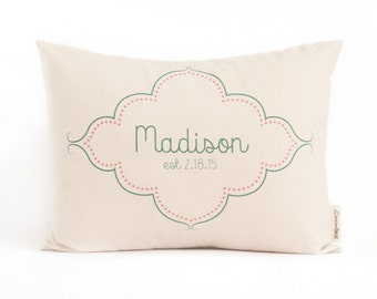 Birth Announcement Gift, New Parents, Newborn Gift, Personalized Baby Pillow, First Birthday, New Baby, Nursery Pillow