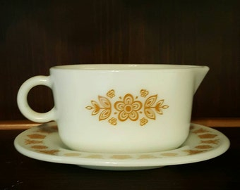Butterfly Gold by Corning - Corelle - Pyrex - Gravy Boat and Underplate - Yellow Flowers