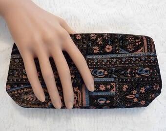SALE Vintage Velvet Clutch Hand Painted Black Velvet Purse Clutch Handbag Cosmetic Case Evening Bag