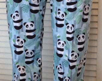 Pandas on blue background flannel pajama pants