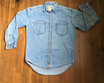 vintage levis red tab denim blue jean long sleeve button up blue collar shirt authentic jeanswear hong kong made