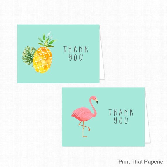 New Printable Flamingo Thank You Card - Printable Instant Download  PC63