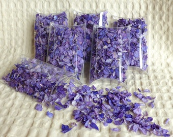 Real flower petal wedding confetti -  dried purple flower petal confetti in clear pillow boxes, ready for your guests to throw!