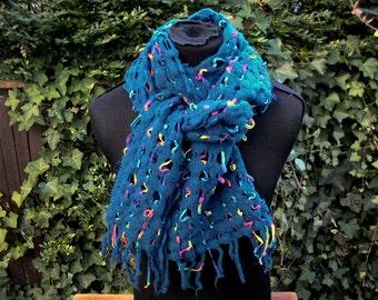 handgewebter gefilzter scarf, dark blue Rainbow colors, wool, acrylic, 30 cm x 200 cm, extravagant, boho, one of a kind, ooak