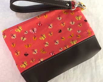Heather Ross Tiny Butterflies Clutch with Faux Leather