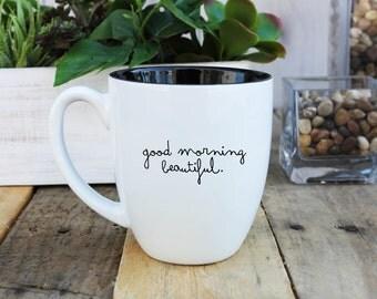 Large Coffee Mug, Bistro Coffee Mug, Coffee Mug, Custom Coffee Mug, Personalized Coffee Mug, Engraved Coffee Mugs --BCM-B-goodmorning