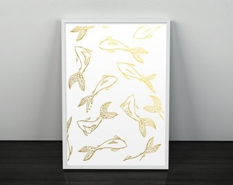 Golden Koi Gold Foil Print Art Home Decor
