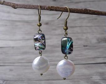 Abalone Earrings Shell Bead Earrings Freshwater Pearl Earrings Abalone Shell Earrings bead drop earrings Dangle Earrings Abalone ED-018