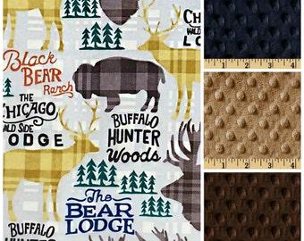 Hunting baby blanket,Buck Blanket,Buffalo Blanket,Flannel Minky Blanket,Flannel baby Blanket,lodge blanket,buffalo baby blanket,bear blanket