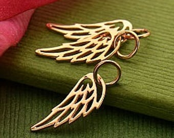 Rose Gold Open Wing Charm or Necklace. Item 276.