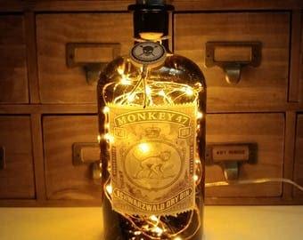 Monkey 47 Gin 500ml Upcycled LED Bottle Lamp Light by JayEngrave