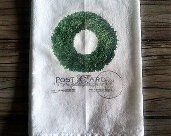 Boxwood Wreath Flour Sack Kitchen Towel