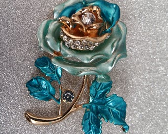 Beautiful Vintage Inspired Gold Finish Rose Brooch Pin with Blue and Rhinestone Accents