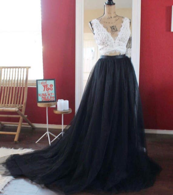 Black Tulle Skirt With Train / Boho Bridal Dress Skirt With