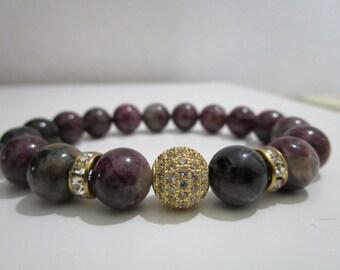 Bracelet tourmaline bracelet with semi-precious stones, bracelet for women, gift for woman, micropave, tourmaline bracelet with micropave