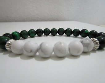 Green tiger eye Tiger eye bracelet Howlite Howlite bracelet Natural stone bracelet Gift for women Bracelet Womens jewelry Beaded bracelet