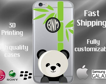 Panda Bear Cell Phone Case, Panda Cell Case, Animal Cell Case, Panda iPhone 7 case, Panda iPhone 7 plus, Cubs Clear iPhone Case, Monogram
