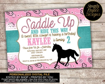 Saddle Up Cowgirl Birthday Invitation