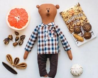 Brummi bear wearing a  cotton plaid shirt - Teddy bear - soft toy bear - coffee toy - present for kid