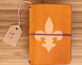 SLIGHTLY IMPERFECT: Fleur de Lis Pocket-sized Field Notes Leather Fauxdori Traveler's Notebook Marigold (Refillable Journal/Planner Cover)