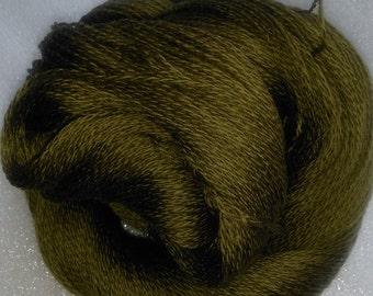 Pure Merino Lambswool, worsted spun/ring spun 2 ply. Soft Olive Green