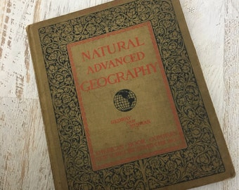 Antique geography school book | vintage 1900s textbook