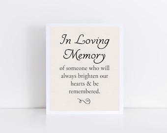 In Loving Memory Printable, Memorial Print, Loving Memory Instant Download, Wedding Memorial Instant Download, Memorial Table 8x10