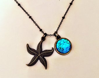 Vintage Gold Starfish Necklace