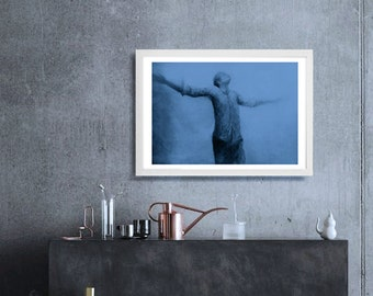 Instant download,contemporary art, figure painting,Blue figurative art,Downloadable print, rustic home decor,man painting