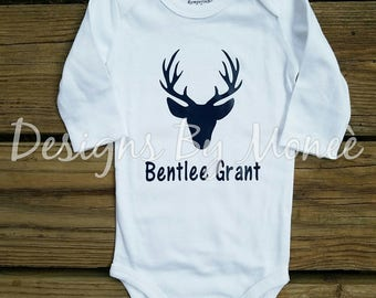 Personalized Newborn Baby Boy Coming Home Outfit Baby Girl Deer Silhouette Onsie Navy Blue Pink