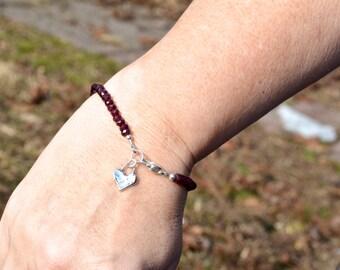 Garnet Gemstone Bracelet, Beaded Bracelet, January Birthstone, Sterling Silver Heart Charm, Friendship Bracelet, Birthday Gift for Her