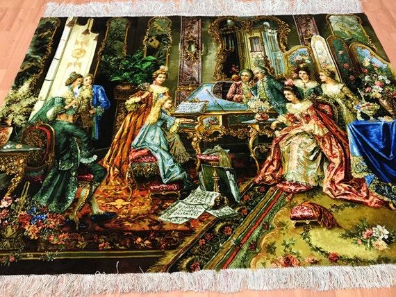 "3'8"" x 4'9"" Persian Tabriz Pictorial Oriental Rug - 400 KPSI - Victorian Era - Wool & Silk - Hand Made"