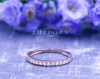 Half Eternity Wedding Band in 14K or 18k Solid Rose Gold 0.25 CT, Stackable Band , Simulated Diamond Band , Stackable Ring
