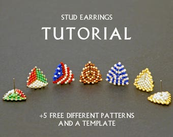 Seed Bead Stud Earring Tutorial Simple Beading Pattern Weaving Instruction Beginner Triangle Beadwork Small DIY Jewelry Free Template How to