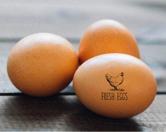 FRESH EGGS Chicken Stamp - Mini Chicken Egg Stamp - Novelty Gift Idea - Backyard Chickens - Farm Fresh Eggs - Chicken Coop Egg Stamper