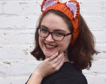 Vixyn headband, fox headband, fox earwarmer, knit fox, animal headband, knit headband, knit ear warmer