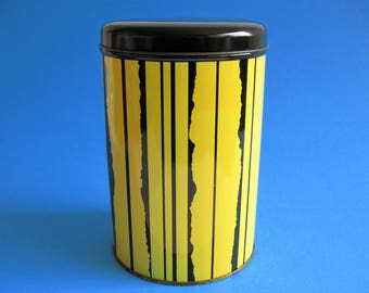 1960's Tomado Holland Tin Canister Yellow Black