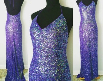 90s Purple Silk Sequined Beaded Mermaid Gown Prom Dress by Cassandra Stone | Labeled Size 6