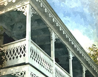 Fine Art Print of Key West Balcony in Old Town Key West in Watercolor Rendering