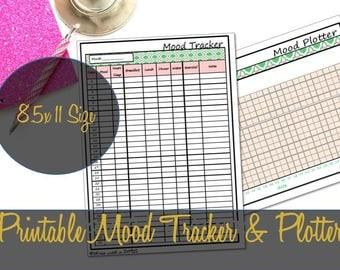 Mood Plotter Printable Insert, Anxiety Tracker, Mood Log, Depression Chart, Anger Chart, big Happy Planner, ARC Discbound - INSTANT DOWNLOAD
